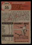 1953 Topps #35  Irv Noren  Back Thumbnail