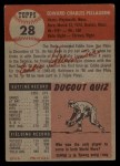 1953 Topps #28  Eddie Pellagrini  Back Thumbnail