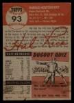 1953 Topps #93  Hal Rice  Back Thumbnail