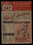 1953 Topps #247  Mike Sandlock  Back Thumbnail