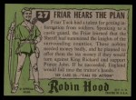 1957 Topps Robin Hood #27   Friar Hears The Plan Back Thumbnail