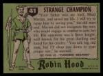 1957 Topps Robin Hood #41   Strange Champion Back Thumbnail