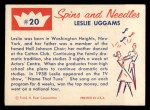 1960 Fleer Spins and Needles #20  Leslie Uggams  Back Thumbnail