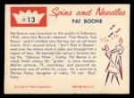 1960 Fleer Spins and Needles #13  Pat Boone  Back Thumbnail