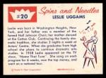 1960 Fleer Spins and Needles #20  Leslie Uggams  Back Thumbnail