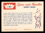 1960 Fleer Spins and Needles #41  Jimmy Dean  Back Thumbnail