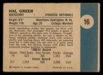 1961 Fleer #16  Hal Greer  Back Thumbnail