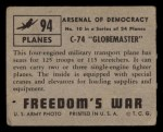 1950 Topps Freedoms War #94   C-74 Globemaster   Back Thumbnail