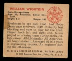 1950 Bowman #63  Bill Wightkin  Back Thumbnail