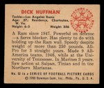 1950 Bowman #53  Dick Huffman  Back Thumbnail