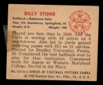 1950 Bowman #112  Billy Stone  Back Thumbnail