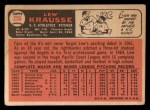 1966 Topps #256  Lew Krausse  Back Thumbnail