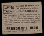 1950 Topps Freedoms War #94   C-74 Globemaster   Back Thumbnail