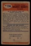 1955 Bowman #156  Maurice Bassett  Back Thumbnail