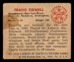 1950 Bowman #33  Travis Tidwell  Back Thumbnail