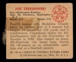 1950 Bowman #139  Joe Tereshinski  Back Thumbnail
