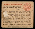 1950 Bowman #138  Howie Livingston  Back Thumbnail