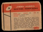 1960 Fleer #94  Jimmy Harris  Back Thumbnail