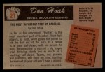 1955 Bowman #21  Don Hoak  Back Thumbnail