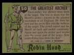 1957 Topps Robin Hood #50   The Greatest Archer Back Thumbnail