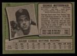 1971 Topps #189  George Mitterwald  Back Thumbnail