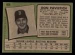 1971 Topps #409  Don Pavletich  Back Thumbnail