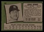 1971 Topps #382  Jake Gibbs  Back Thumbnail
