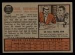 1962 Topps #272  Earl Robinson  Back Thumbnail