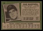 1971 Topps #150  Sam McDowell  Back Thumbnail