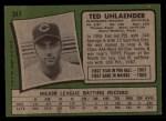 1971 Topps #347  Ted Uhlaender  Back Thumbnail