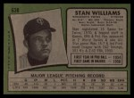 1971 Topps #638  Stan Williams  Back Thumbnail