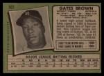 1971 Topps #503  Gates Brown  Back Thumbnail
