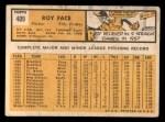 1963 Topps #409  Roy Face  Back Thumbnail