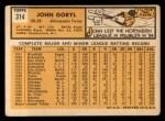 1963 Topps #314  John Goryl  Back Thumbnail