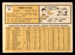 1963 Topps #44  Terry Fox  Back Thumbnail