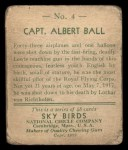1933 National Chicle Sky Birds #4   Capt. Albert Ball Back Thumbnail
