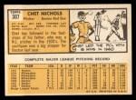 1963 Topps #307  Chet Nichols  Back Thumbnail