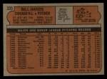 1972 Topps #335  Bill Hands  Back Thumbnail
