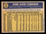 1970 Topps #280  Donn Clendenon  Back Thumbnail