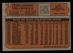 1972 Topps #350  Frank Howard  Back Thumbnail