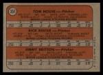 1972 Topps #351   -  Tom House / Jimmy Britton / Rick Kester Braves Rookies   Back Thumbnail
