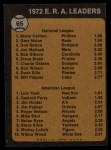 1973 Topps #65   -  Steve Carlton / Luis Tiant ERA Leaders Back Thumbnail