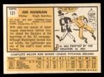 1963 Topps #121 ^COR^ Jim Hannan  Back Thumbnail