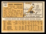 1963 Topps #149  Marv Breeding  Back Thumbnail