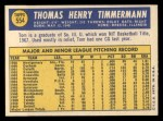 1970 Topps #554  Tom Timmermann  Back Thumbnail