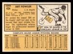 1963 Topps #454 ^ORG^ Art Fowler  Back Thumbnail
