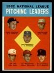 1963 Topps #7   -  Don Drysdale / Joe Jay / Art Mahaffey / Billy O'Dell / Bob Purkey / Jack Sanford NL Pitching Leaders Front Thumbnail