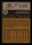 1973 Topps #506  Bart Johnson  Back Thumbnail