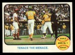 1973 Topps #203   -  Gene Tenace / George Hendrick / Johnny Bench 1972 World Series - Game #1 - Tenace the Menace Front Thumbnail