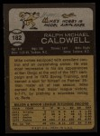 1973 Topps #182  Mike Caldwell  Back Thumbnail